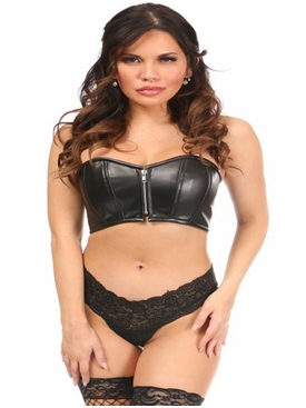 Daisy Corsets Black Faux Leather Short Bustier Top+C2:C89