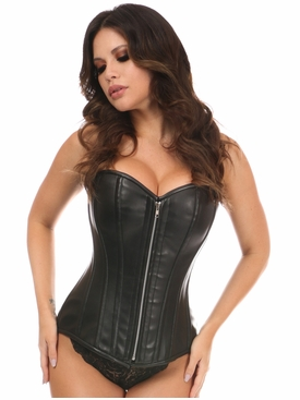 Daisy Corsets Black Faux Leather Steel Boned Overbust Corset