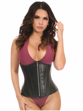 Daisy Corsets Black Faux Leather Steel Boned Underbust Corset