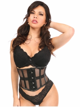 Daisy Black Fishnet & Faux Leather Steel Boned Mini Cincher