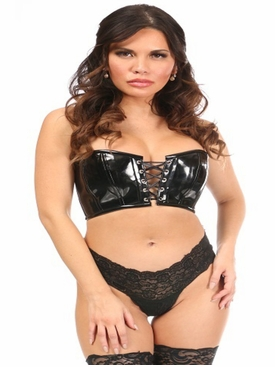 Daisy Corsets Black Patent Lace-Up Short Bustier Top