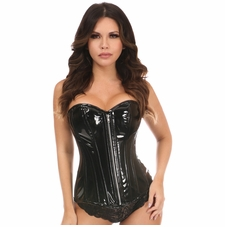 Daisy Black Patent PVC Steel Boned Over Bust Corset