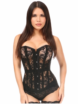Daisy Corsets Black Sheer Lace Over Bust Corset