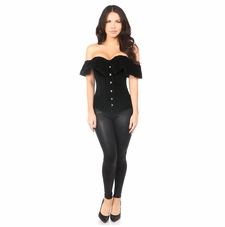 Daisy Black Velvet Off-The-Shoulder Steel Boned Corset