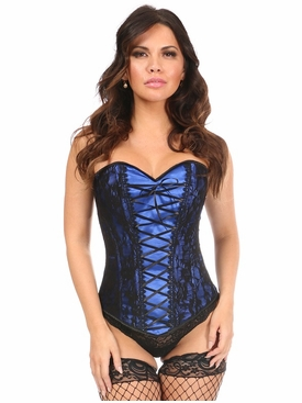 Daisy Blue Lace-Up Overbust Corset w/Black Lace