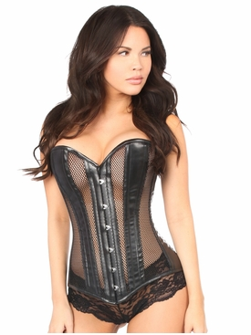 Daisy Corsets Faux Leather & Fishnet Overbust Corset