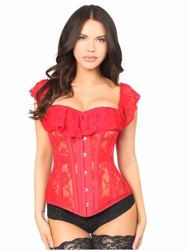 Daisy Corset Red Sheer Lace Steel Boned Corset