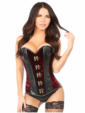 Daisy Corsets Red Velvet & Faux Leather Steel Boned Corset