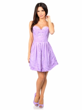 Daisy Corsets Steel Boned Lilac Lace Empire Waist Corset Dress