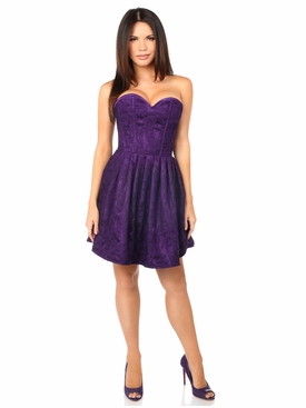 Daisy Corsets Steel Boned Plum Lace Empire Waist Corset Dress