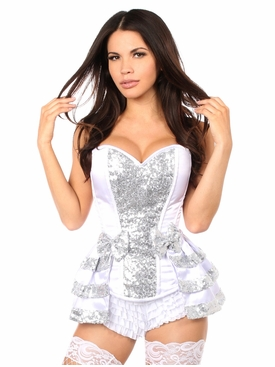 Daisy Corsets TD-074 White/Silver Satin & Sequin Steel Boned Corset