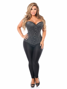 Daisy Corset TD-1000 Elegant Black Embroidered Steel Boned Corset