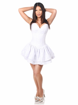 Daisy Corsets TD-377 White Lace Steel Boned Ruffle Corset Dress