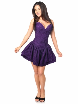 Daisy Corsets TD-458 Dark Purple Lace Steel Boned Ruffle Corset Dress