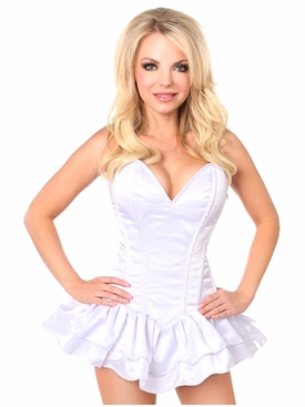 Daisy Corsets TD-665X Top Drawer White Satin Steel Boned Corset Dress