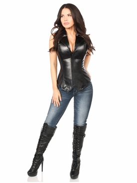 Daisy Corset Top Drawer Faux Leather Collared Steel Boned Corset