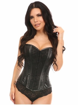 Daisy Lavish Wet Look Corset W/Black Lace Overlay