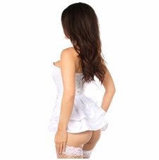 82a62b5938 Daisy LV-175 White Satin Corset w Removable Snap on Skirt