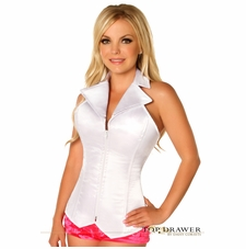 Daisy LV-463 White Collared Front Zipper Corset