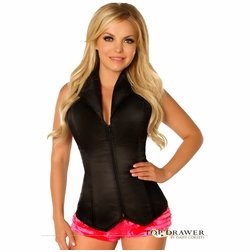 Daisy LV-464 Black Collared Front Zipper Corset