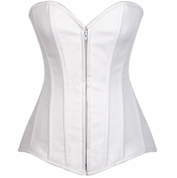 Daisy LV-595 White Cotton Overbust Corset