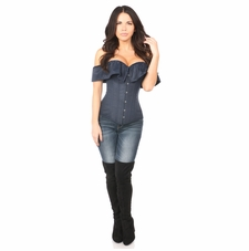 Daisy Navy Blue Cotton Off-The-Shoulder Corset