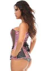 Daisy Corsets Pink Holo & Black Fishnet Steel Boned Over Bust Corset