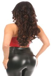 Daisy Corsets Red Faux Leather Short Bustier Top