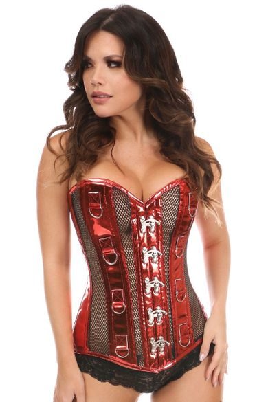 Daisy Corsets Red Metallic PVC & Fishnet Steel Boned Corset