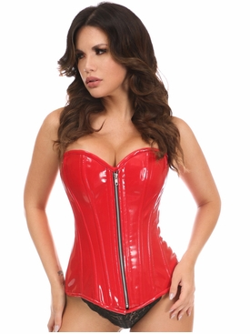 Daisy Corsets Red Patent PVC Steel Boned Over Bust Corset