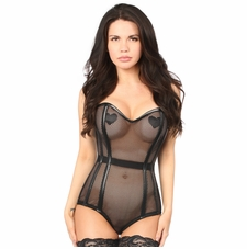 Daisy Corset Steel Boned Fishnet Corseted Bodysuit
