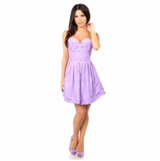 Daisy Corset Steel Boned Lilac Lace Empire Waist Corset Dress