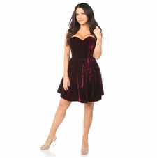 Daisy Corset Steel Boned Red Velvet Empire Waist Corset Dress