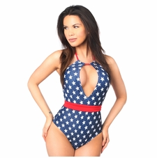 Daisy Swimwear Patriotic Stars One-Piece Pucker Back Swimsuit