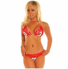 Daisy Swimwear Pin-Up Cherry Print Pucker Back Bikini
