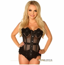 Daisy TD-037 Black Mesh Net Beaded Steel Boned Corset