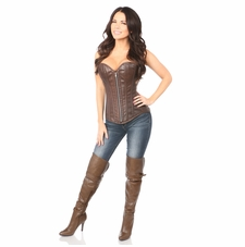 Daisy TD-053 Distressed Brown Faux Leather Steel Boned Corset