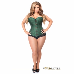 Daisy TD-244 Dark Green Brocade Steel Boned Corset