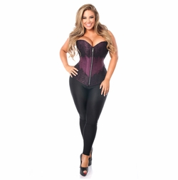 Daisy TD-253 Plum Brocade Steel Boned Corset w/Black Eyelash Lace