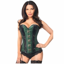 Daisy TD-340 Dark Green Brocade & Faux Leather Steel Boned Corset