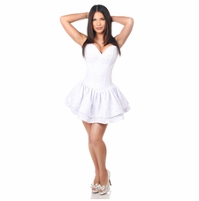 Daisy TD-377 White Lace Steel Boned Ruffle Corset Dress