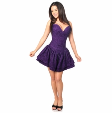 Daisy Corset TD-458 Dark Purple Lace Steel Boned Ruffle Corset Dress