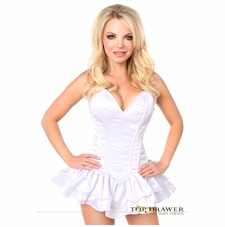 Daisy TD-665 White Satin Steel Boned Corset Dress