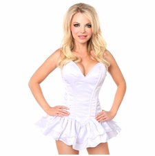 Daisy Corset TD-665 Top Drawer White Satin Steel Boned Corset Dress