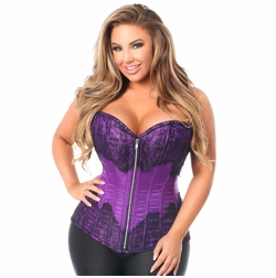 Daisy TD-792 Purple Brocade Steel Boned Corset w/Black Eyelash Lace