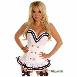 Daisy TD-813 White Navy Officer Overbust Steel Boned Corset