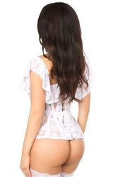 Daisy Corsets White Sheer Lace Steel Boned Corset