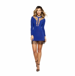 Dancewear Double Strappy Lace-up Dress with Hanging Fringe Detail