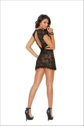 Deep V Eyelash Lace Chemise With Short Sleeves