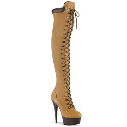 Pleaser Delight-3000TL Lace-Up Front Over-the-Knee Boot